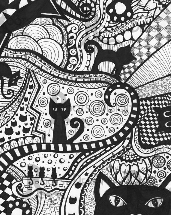 zentangle patterns coloring pages instant download coloring page cat art print zentangle zentangle coloring patterns pages