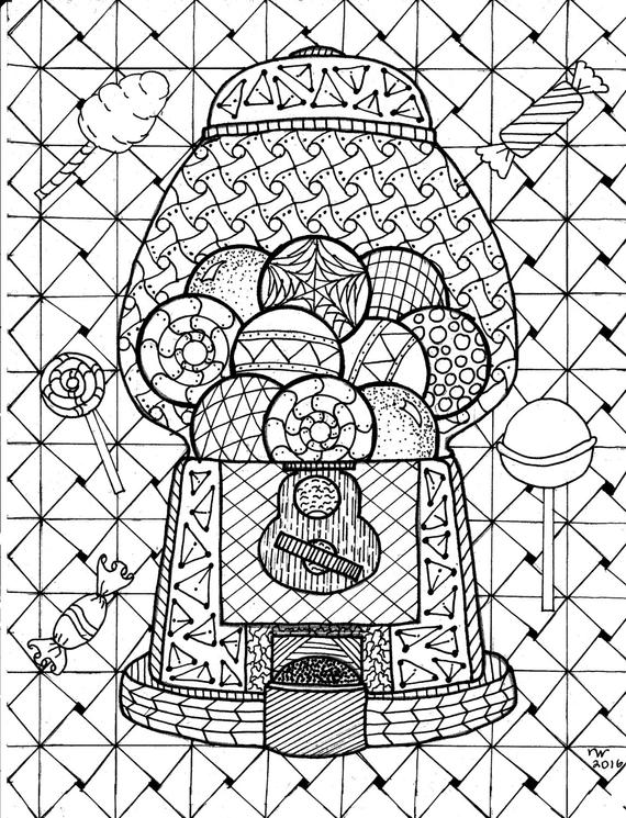zentangle patterns coloring pages items similar to gumball machine zentangle coloring page patterns coloring zentangle pages