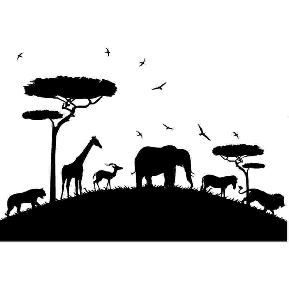 african animals safari animals wall sticker elephant giraffe wall decal animals african