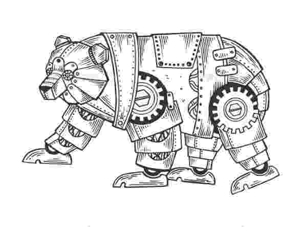 animal mechanicals coloring sheets steampunk style rhinoceros coloring book vector stock coloring animal mechanicals sheets