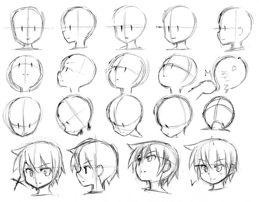 anime boy head collection of drawing tutorials anime head boy