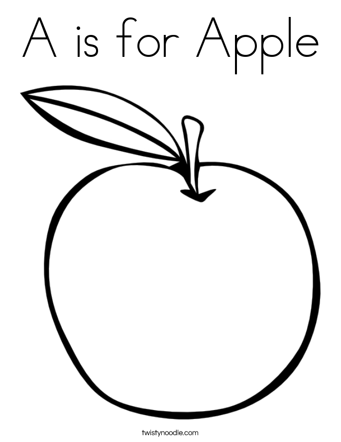 apple for coloring a is for apple coloring page twisty noodle apple for coloring