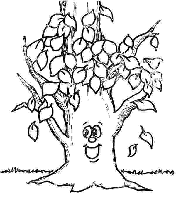 autumn tree coloring page fall printable coloring page with tree and leaves falling autumn coloring tree page