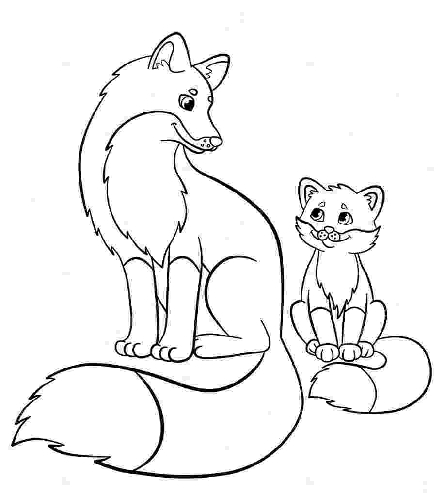 baby fox coloring pages coloring pages wild animals mother fox with her little baby pages coloring fox