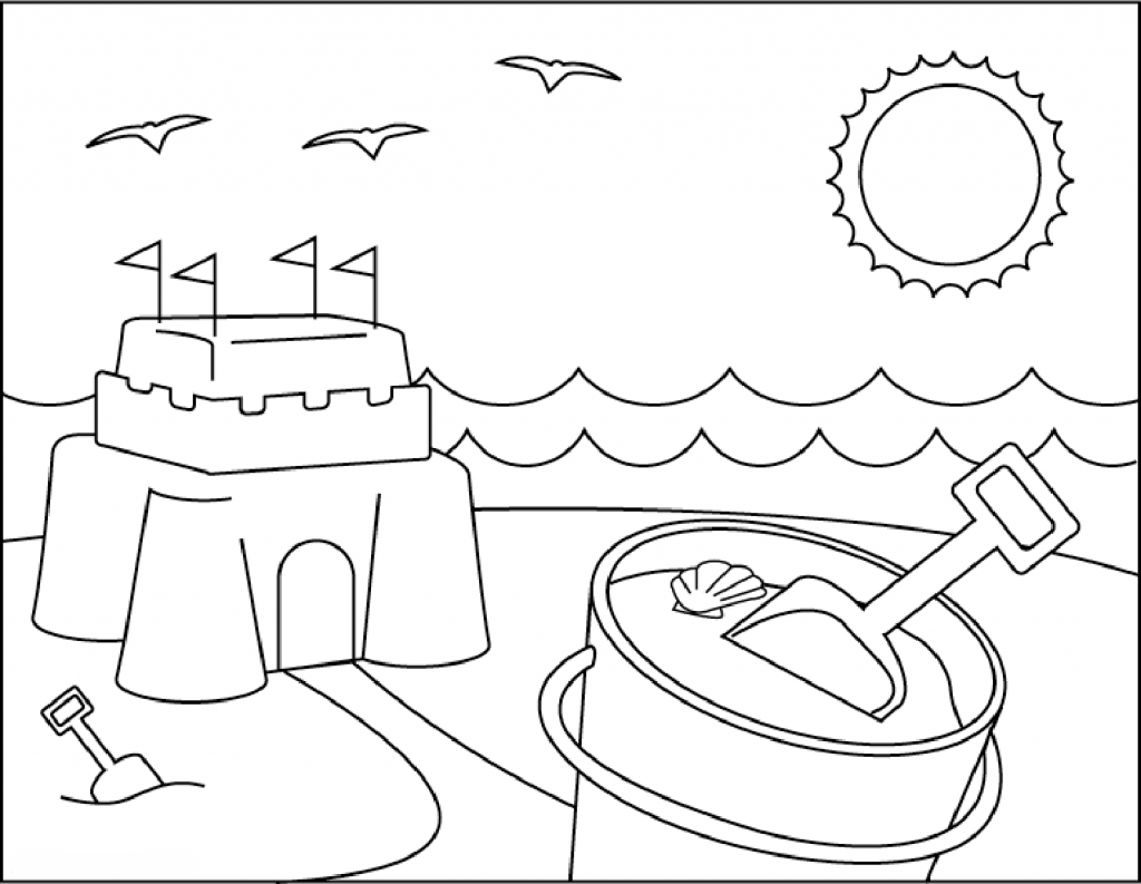 beach coloring pages sandcastle at the beach coloring page beach pages coloring