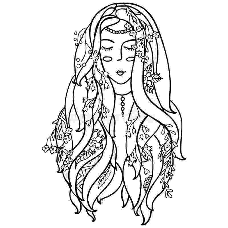 black and white coloring pages for adults vector illustration black and white woman with flowers black pages and coloring white for adults