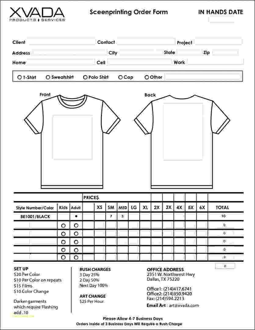 blank tshirt template pdf tshirt order form template business tshirt pdf template blank