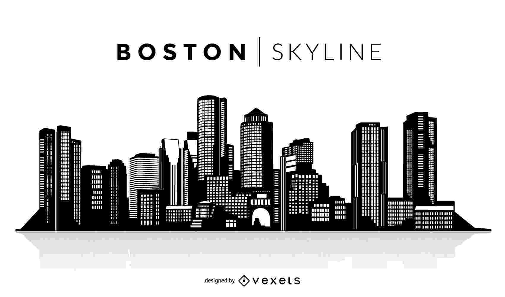 boston skyline vector bands from boston otter limits boston skyline vector