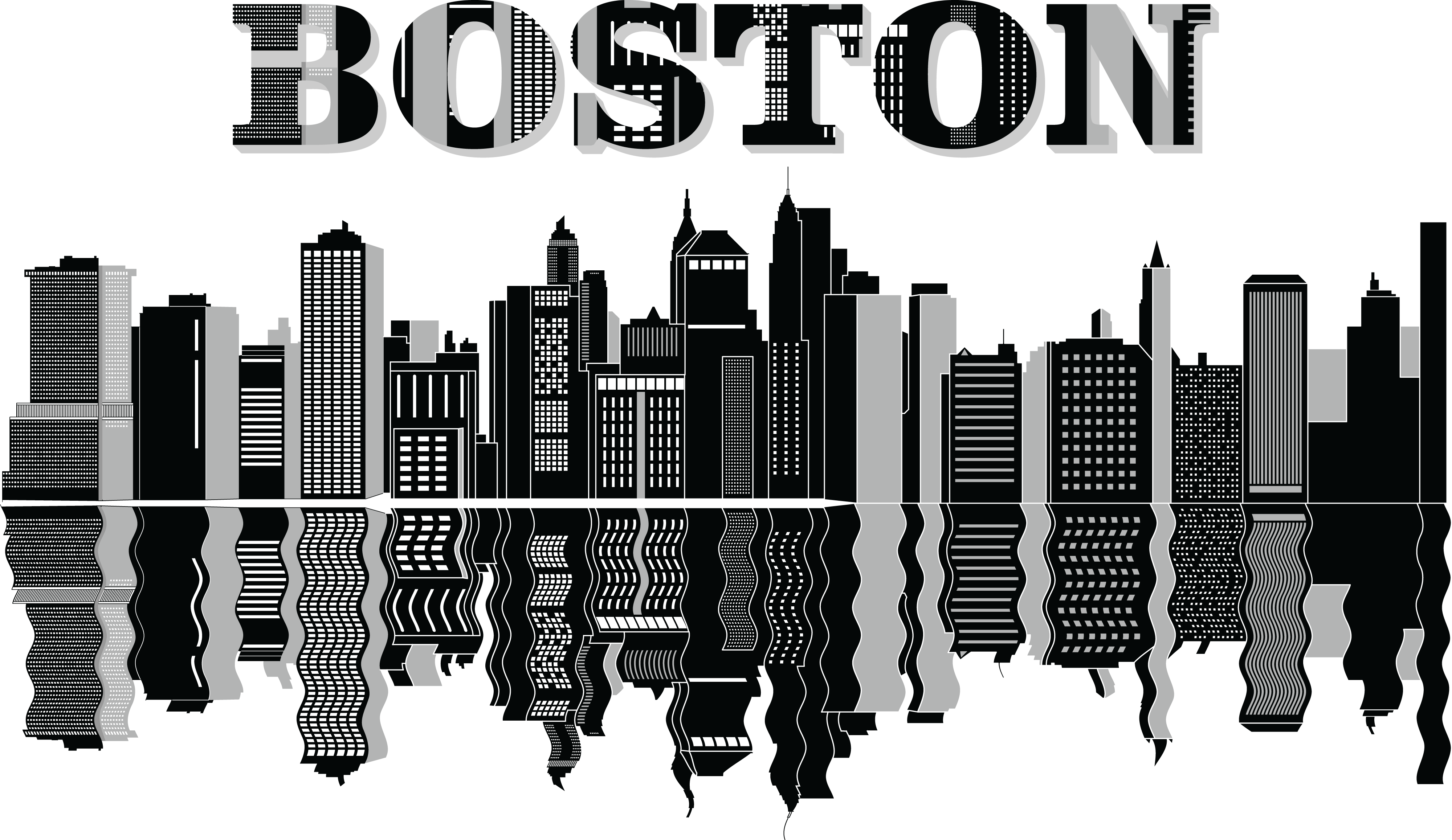 boston skyline vector free clipart of a reflecting boston city skyline skyline vector boston