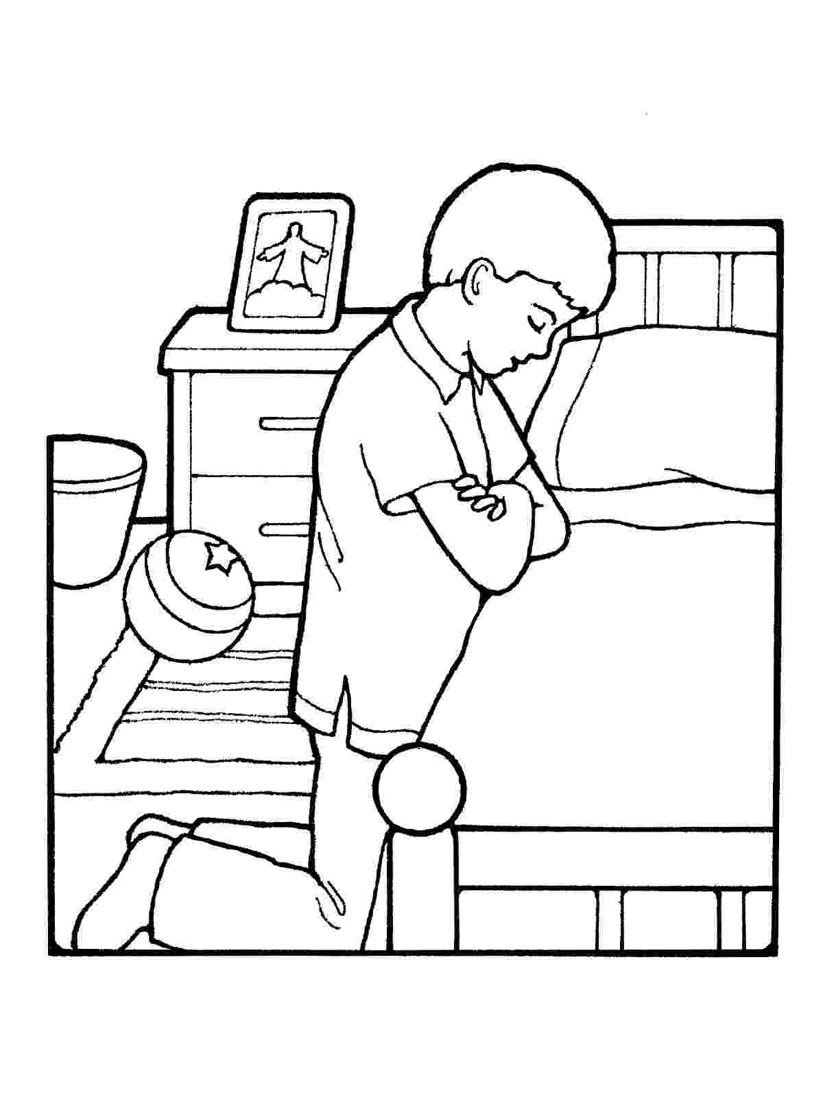 boy praying coloring page boy praying at bedside coloring page boy praying