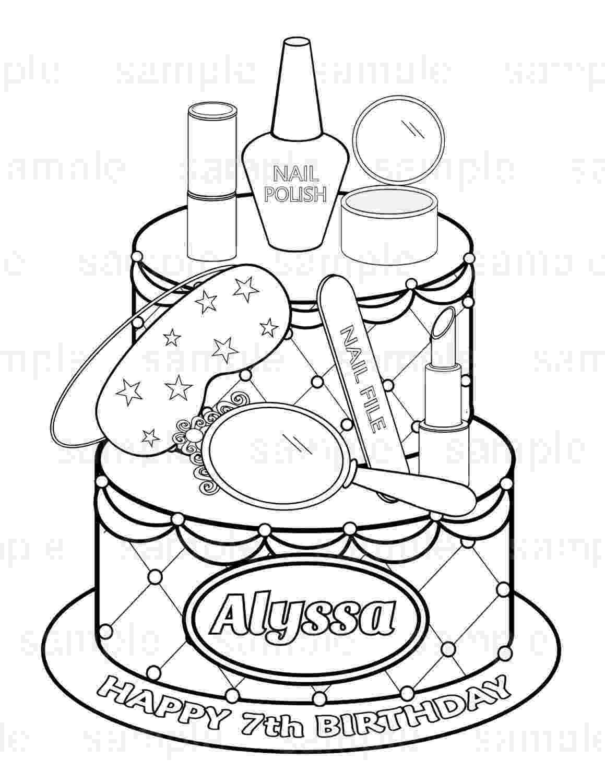 cake printable personalized printable spa party cake favor childrens kids printable cake