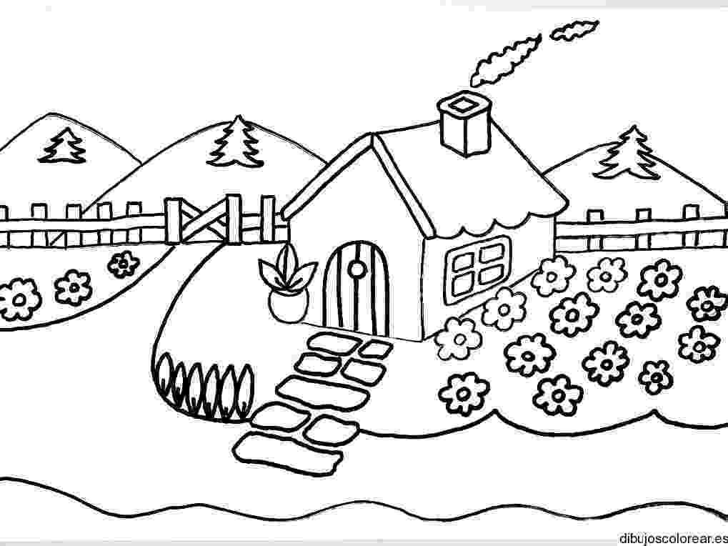 casa de campo para colorear dibujo de una casa con chimenea y humo dibujos para para campo de casa colorear