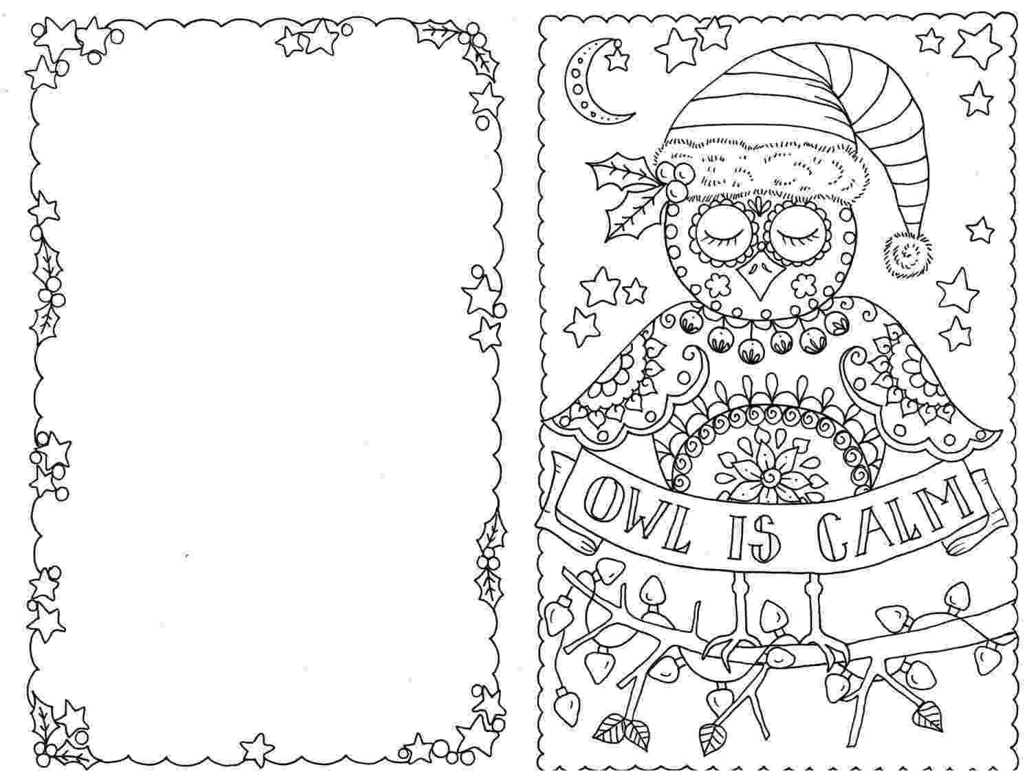 christmas cards coloring sheets 4 cards to color owl christmas cards you be the artist color coloring christmas cards sheets
