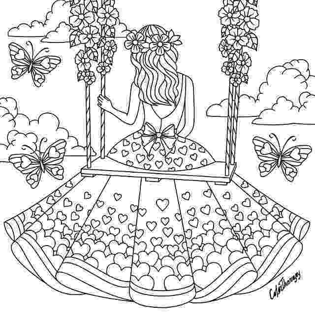 colering pages for girls girl sitting on a swing coloring page heart coloring girls for colering pages