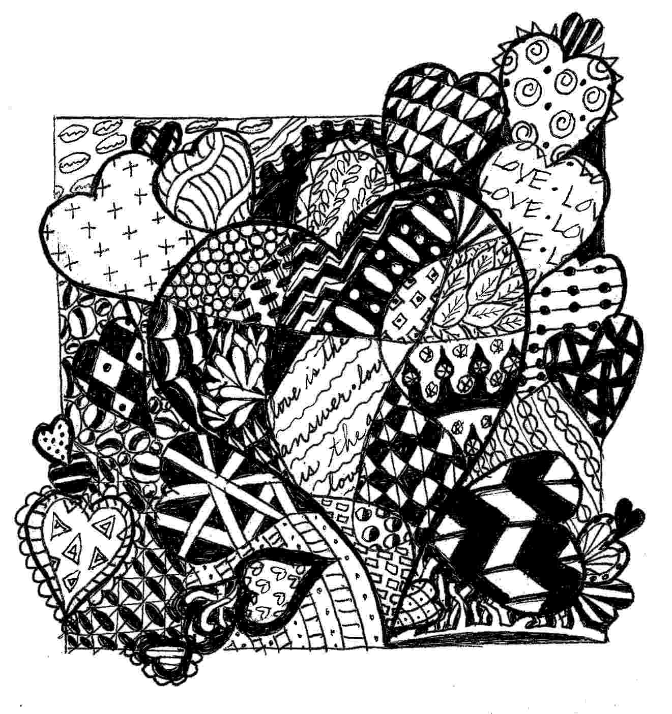 color zentangle a little color every day hidden hearts color zentangle