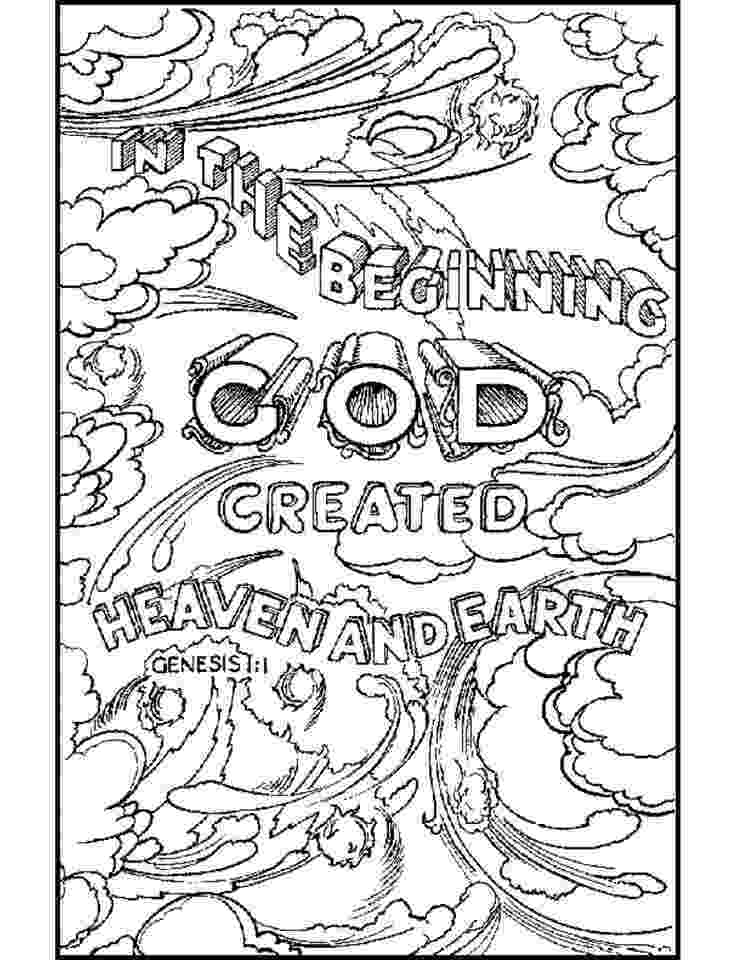 coloring bible god created heaven and earth bible verse coloring page coloring bible