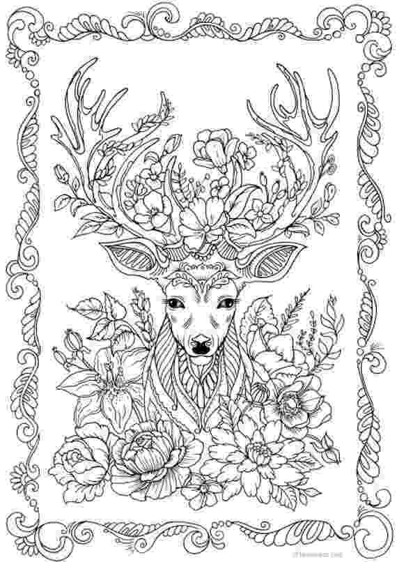 coloring book deer fantasy deer printable adult coloring page from favoreads coloring book deer