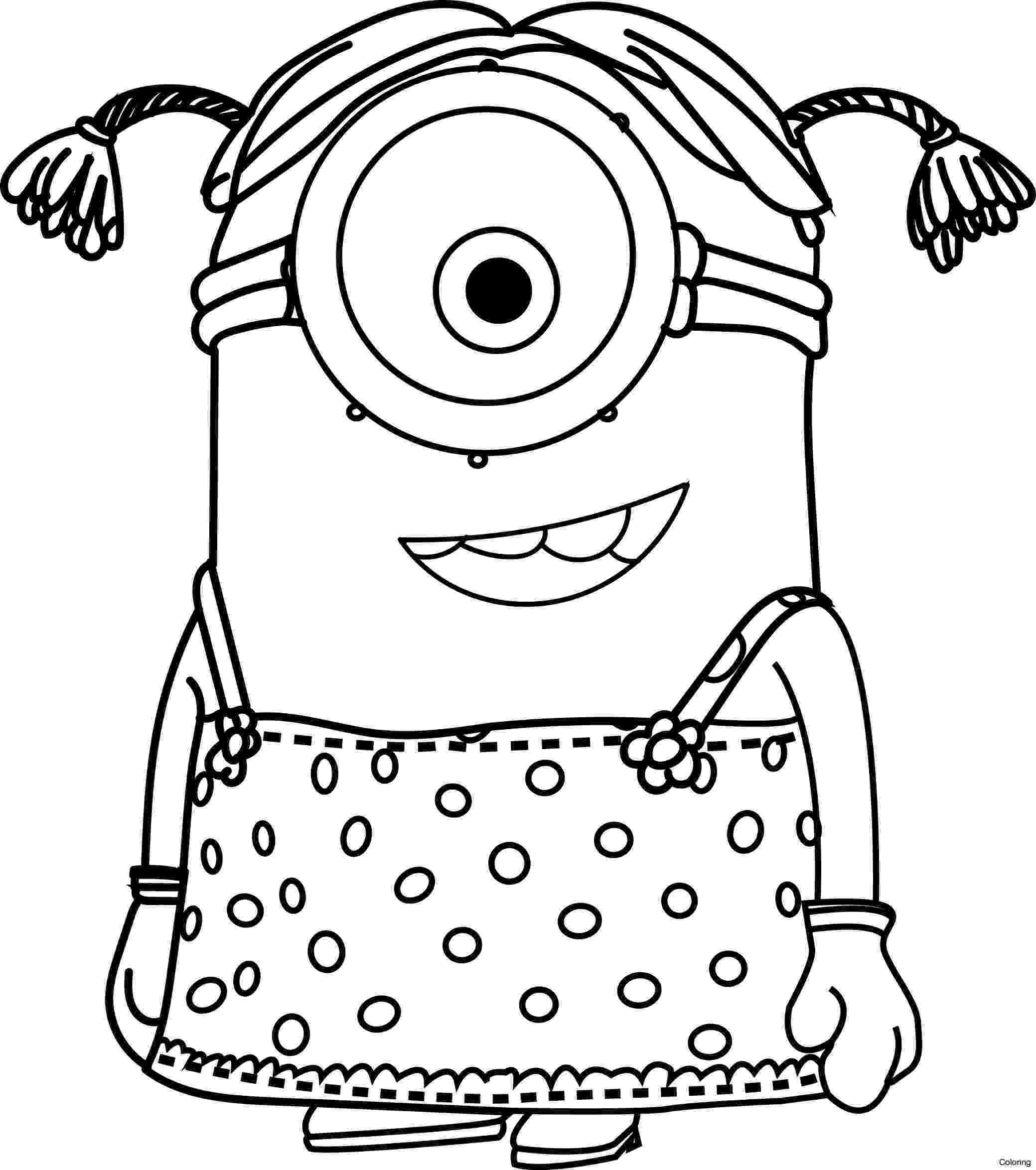 coloring book pages minions minion girl drawing at getdrawingscom free for personal minions pages coloring book