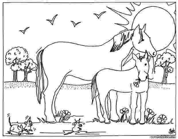 coloring horse mare and foal coloring pages hellokidscom horse coloring