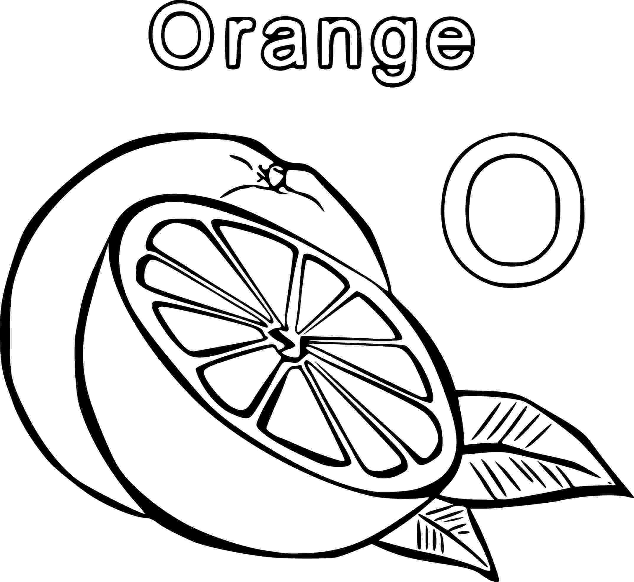 coloring page of a orange two oranges one whole and the other cut it pieces orange of a page coloring