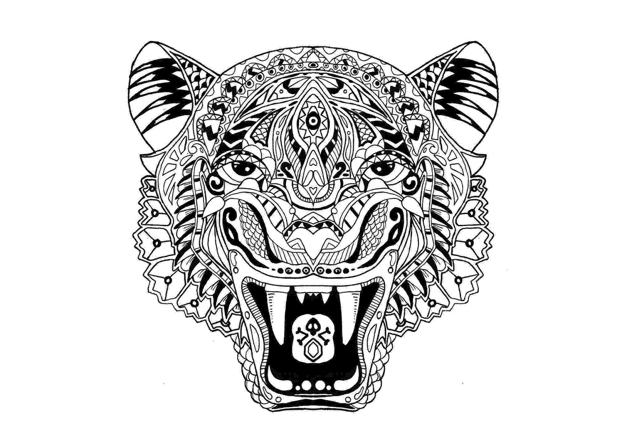 coloring page tiger tiger print drawing at getdrawingscom free for personal tiger page coloring