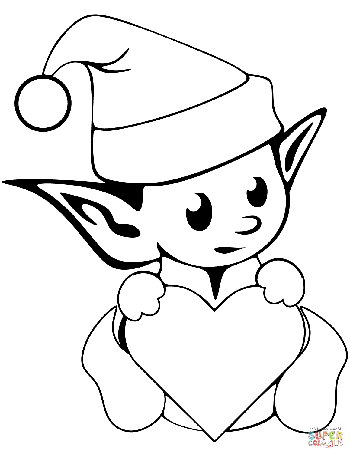 coloring pages elves christmas elf drawing at getdrawingscom free for coloring pages elves