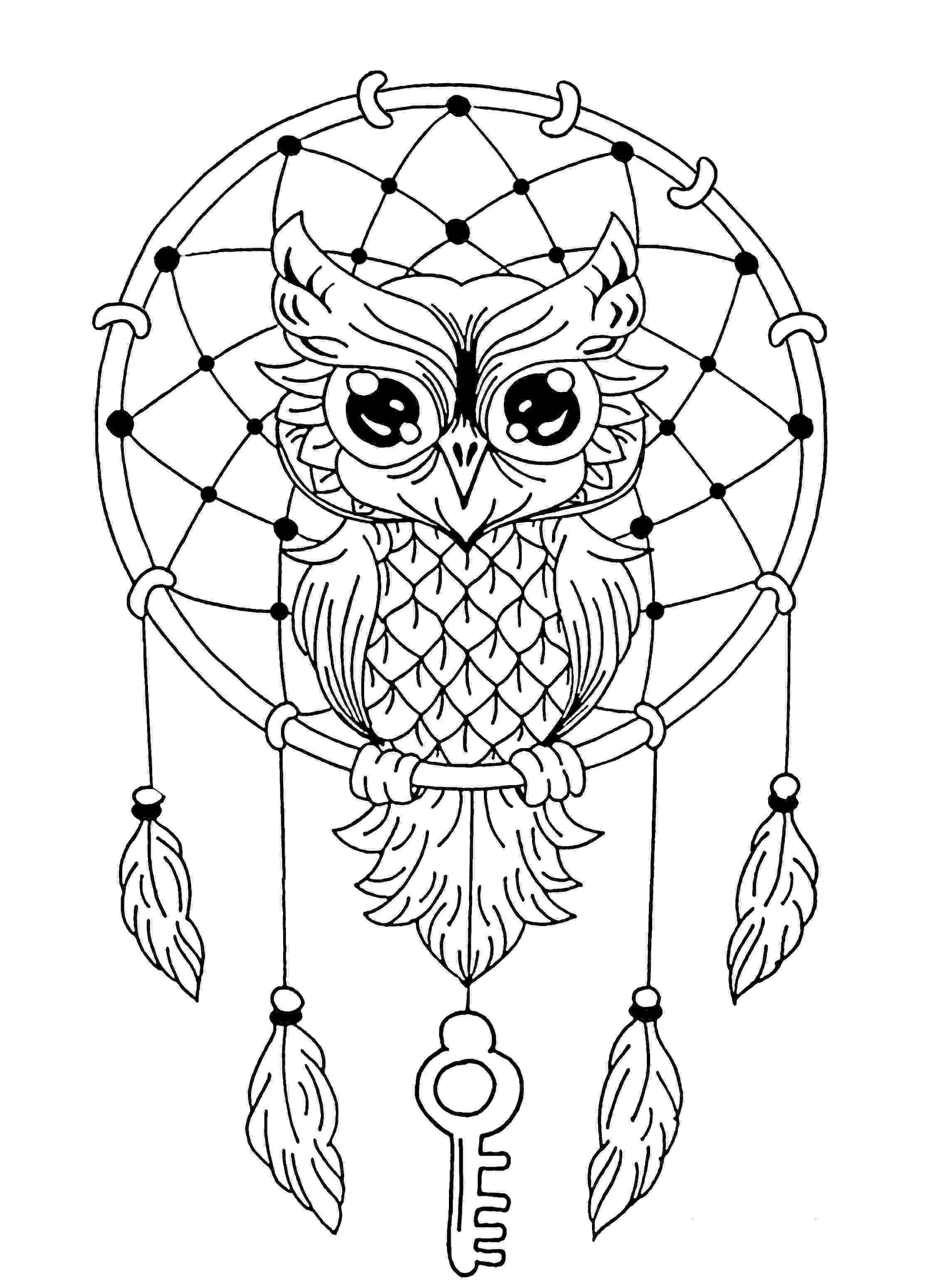 coloring pages for adults with owls owl dreamcatcher owls adult coloring pages pages coloring owls for with adults
