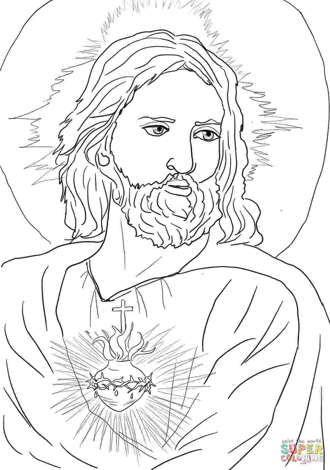 coloring pages jesus sacred heart of jesus coloring page free printable coloring jesus pages