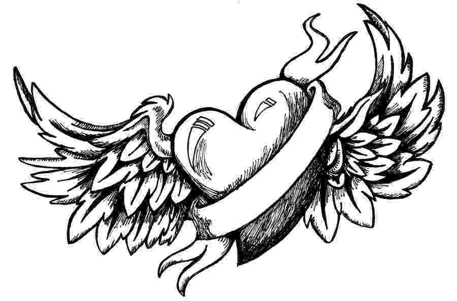 coloring pages of hearts with wings how to draw angel hearts step by step tattoos pop of pages with wings hearts coloring