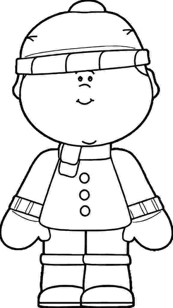 coloring pages of winter clothes boy dressed in winter clothing coloring page pages coloring clothes of winter