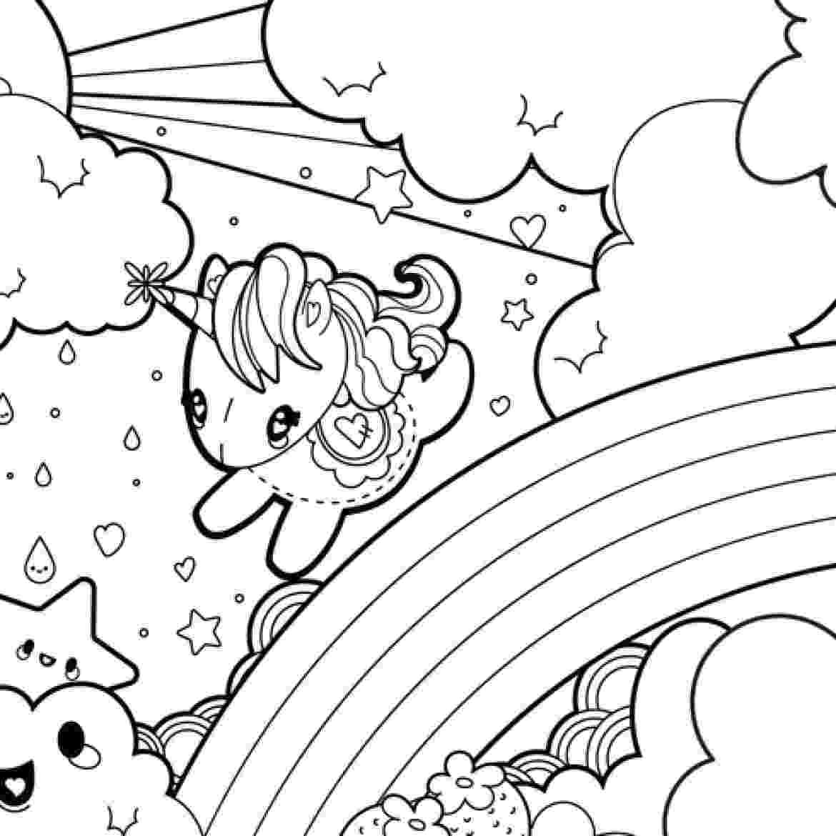 coloring pages unicorns rainbows unicorn with rainbow stars and candy coloring page rainbows pages coloring unicorns