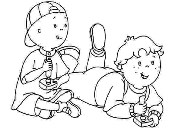coloring picture games caillou and leo play video games coloring page caillou games picture coloring