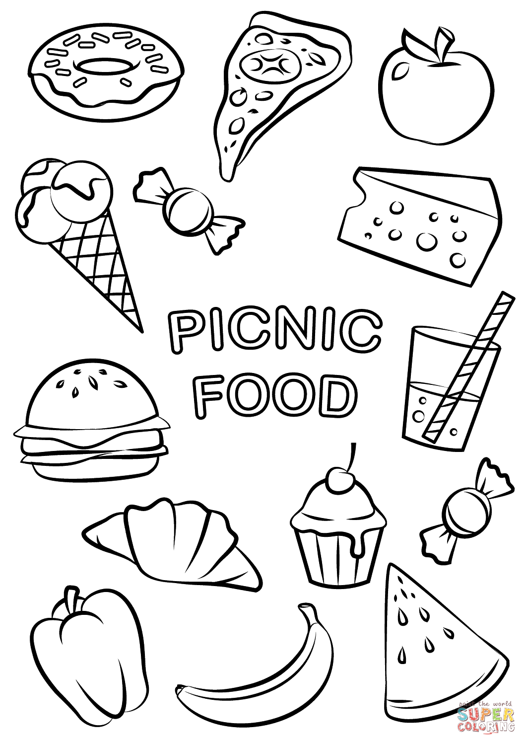 coloring picture of food picnic food coloring page free printable coloring pages picture food coloring of