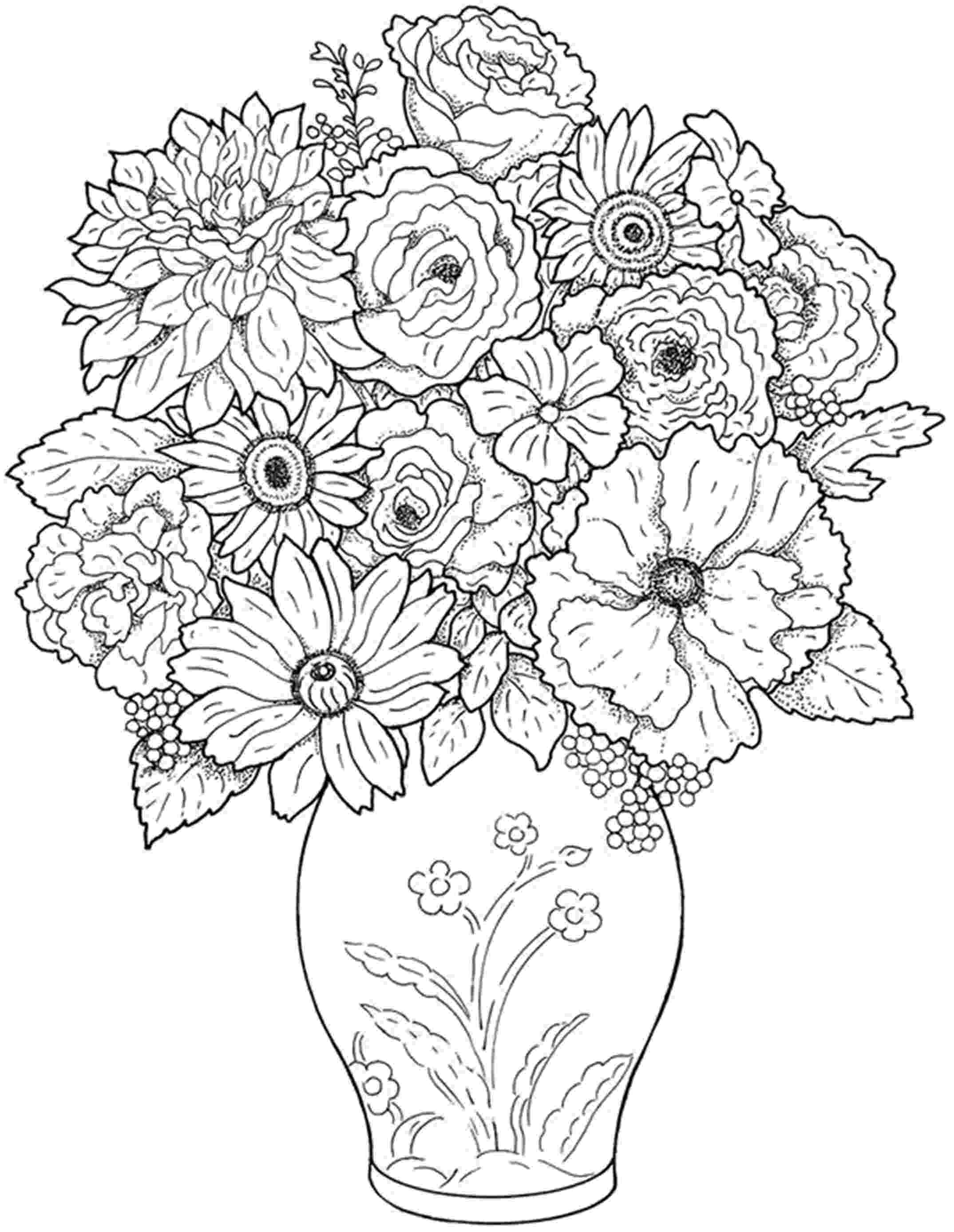 coloring pictures of flowers in a vase flowers in vase with stripes coloring page plants a flowers of pictures coloring in vase