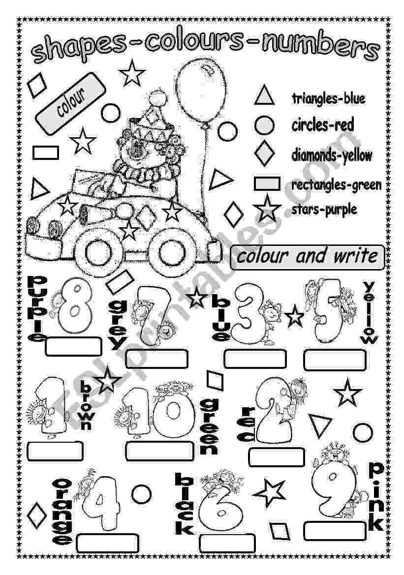 colour by number shapes math worksheets kindergarten math worksheets and number shapes by colour