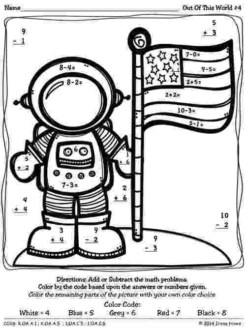 colour by number space color by number missing addends space themed math space by colour number