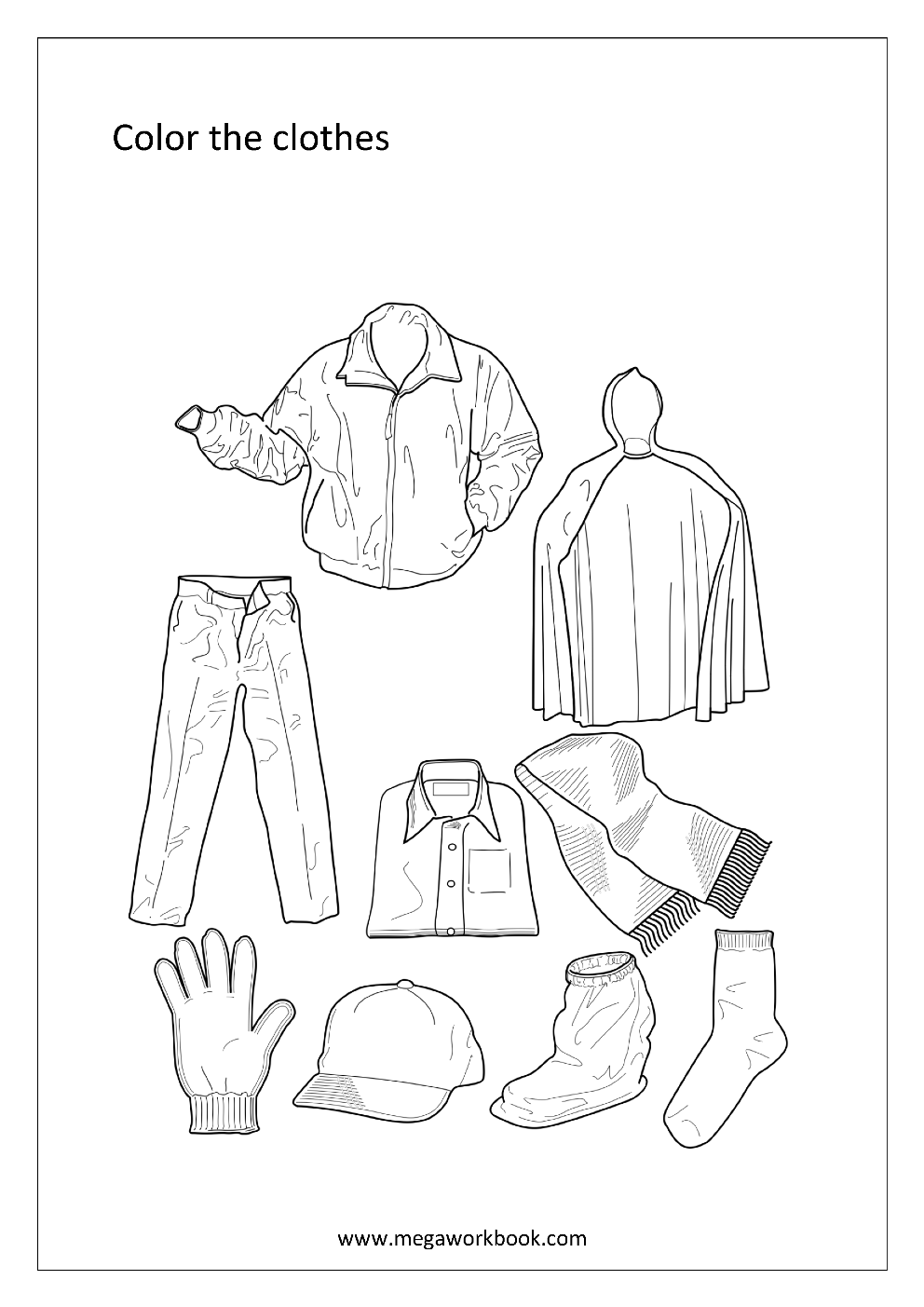 colouring clothes Сlothes coloring pages for childrens printable for free clothes colouring