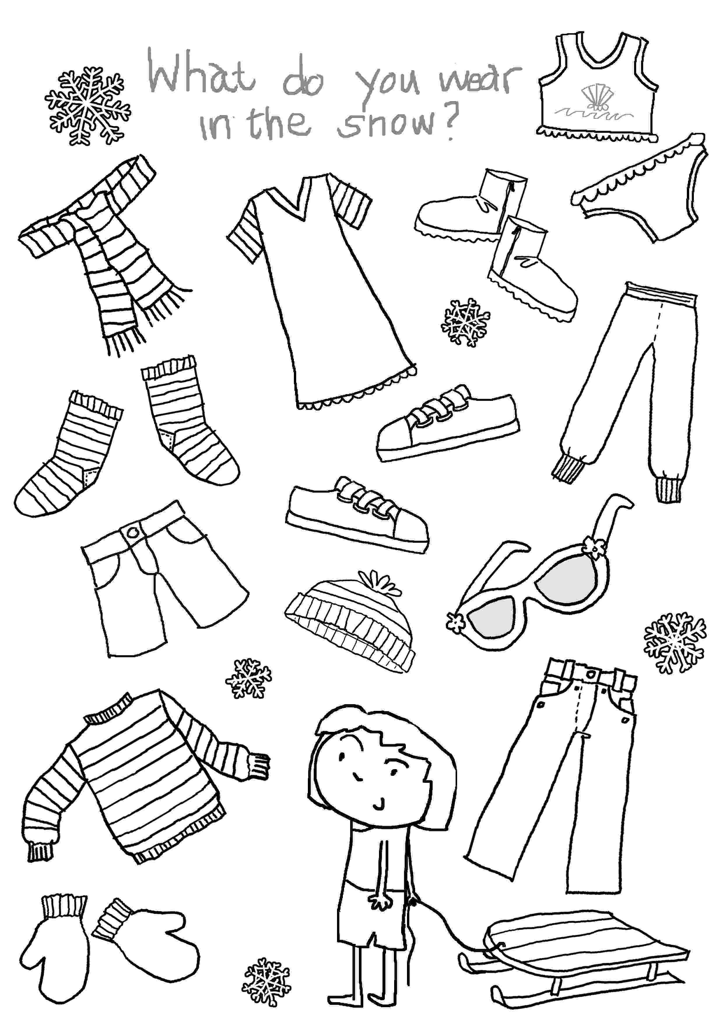 colouring clothes 14 best images of clothes for children worksheets winter clothes colouring