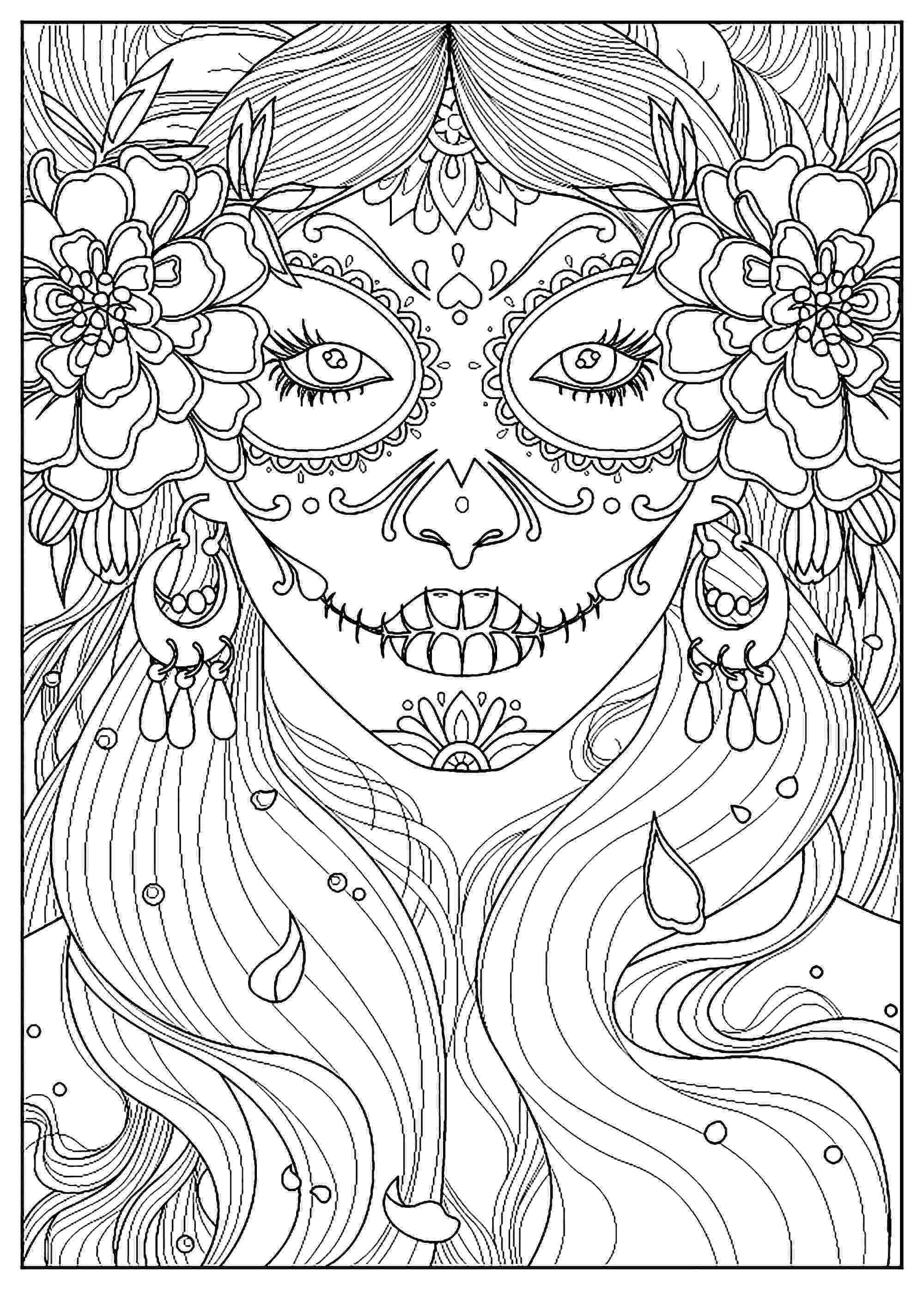 colouring pages adults day of the dead el día de los muertos adult coloring pages colouring adults pages