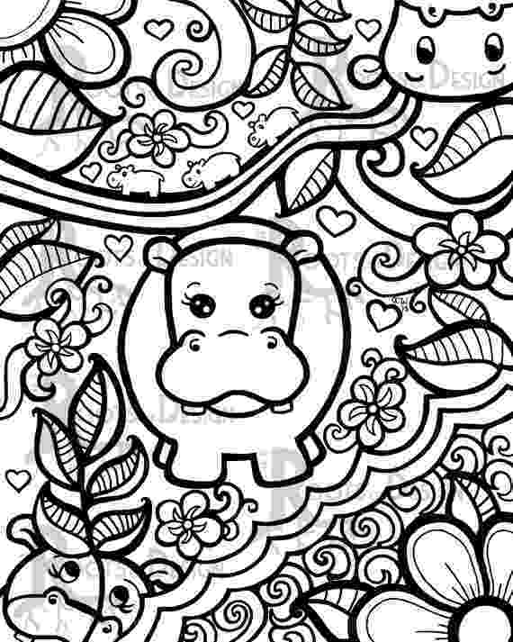 colouring pages adults instant download coloring page hippo art print zentangle adults pages colouring