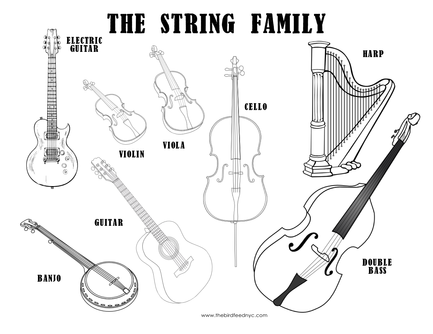 colouring pages of musical instruments musical instruments coloring sheet the string family pages musical instruments of colouring