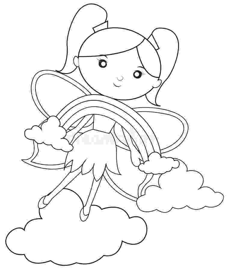 colouring pages rainbow fairies the rainbow and the fairy coloring page stock illustration pages fairies colouring rainbow
