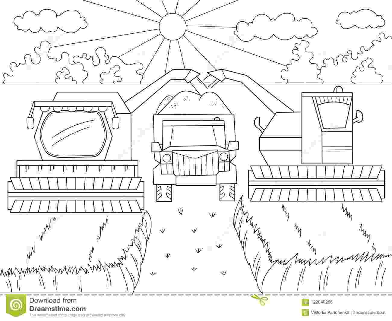 combine harvester colouring pages cartoon coloring book for children autumn harvesting of pages colouring combine harvester