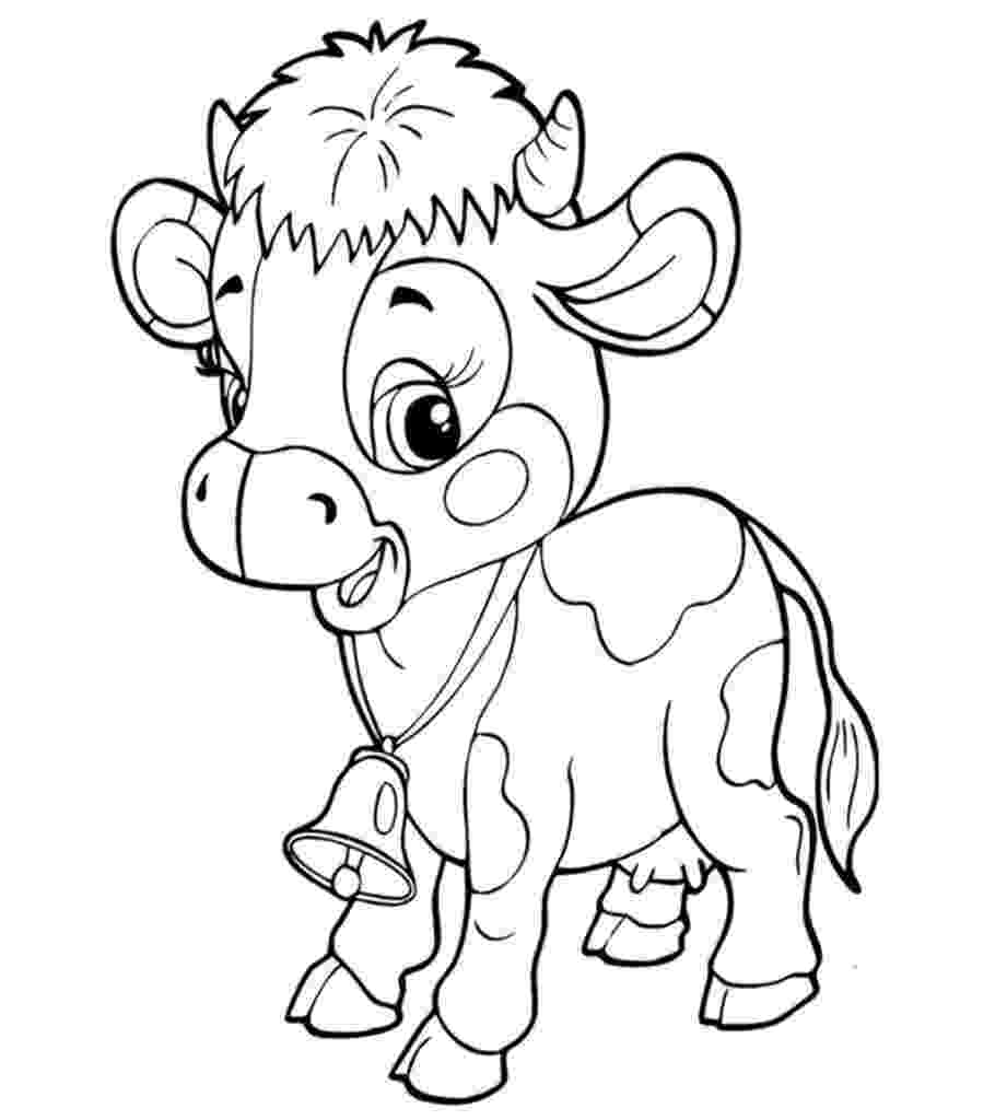 cow colouring sheet cute cow animal coloring books for kids drawing cow colouring sheet