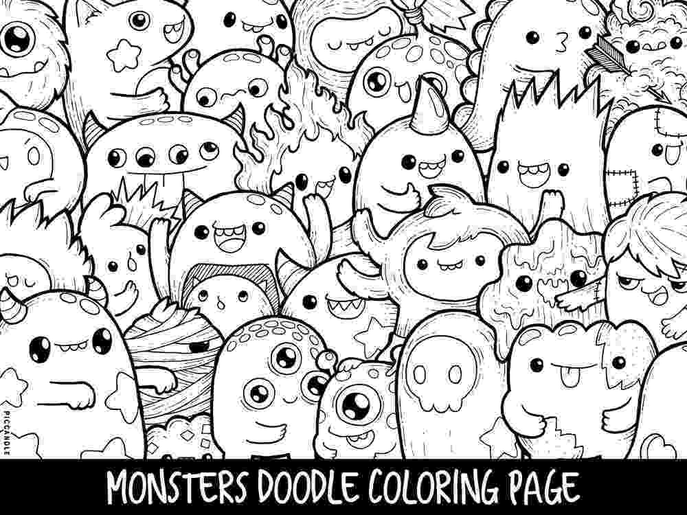 cute coloring pages to print monsters doodle coloring page printable cutekawaii coloring cute pages to print coloring