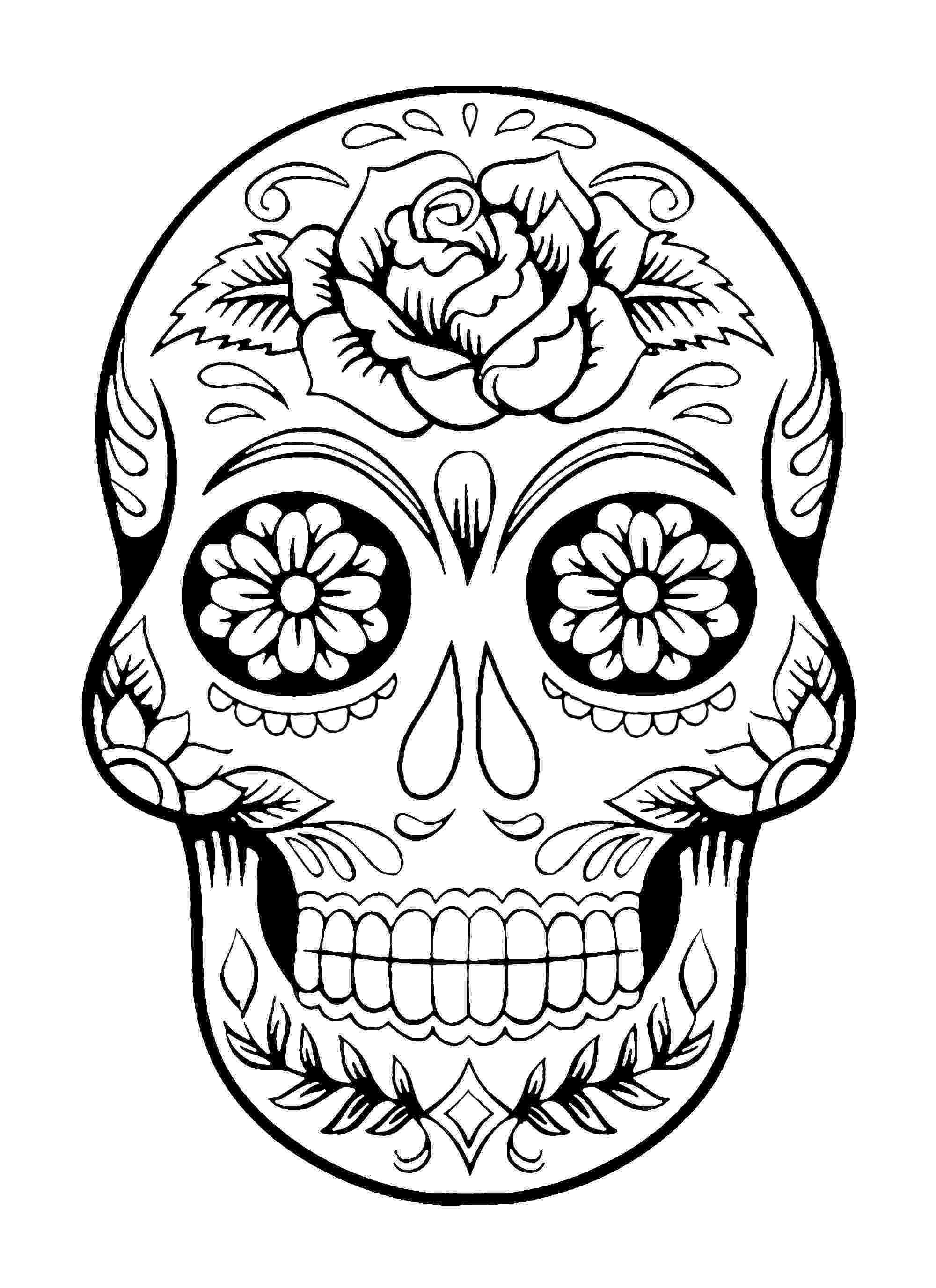 day of the dead printable pictures skull coloring pages for adults pictures printable of day the dead
