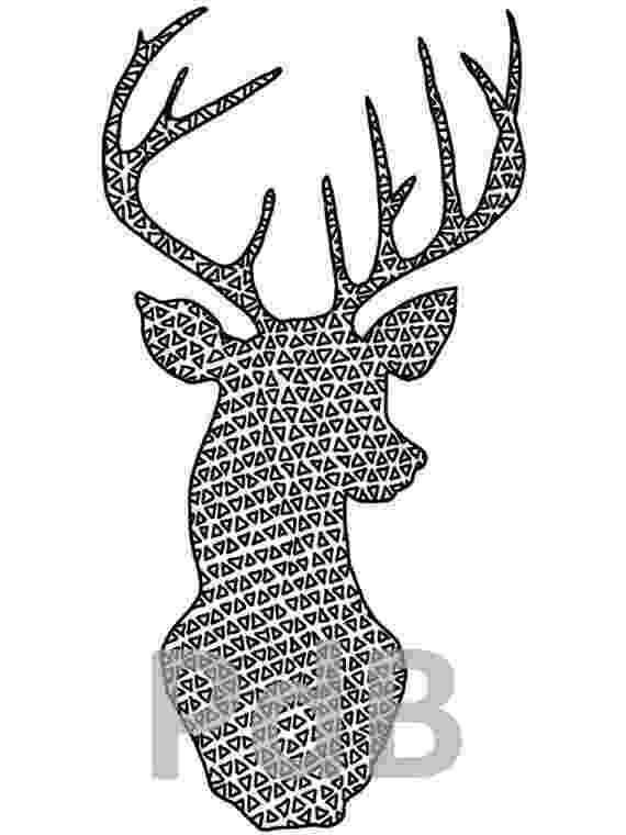 deer head coloring pages items similar to coloring page deer head geometric adult pages deer coloring head