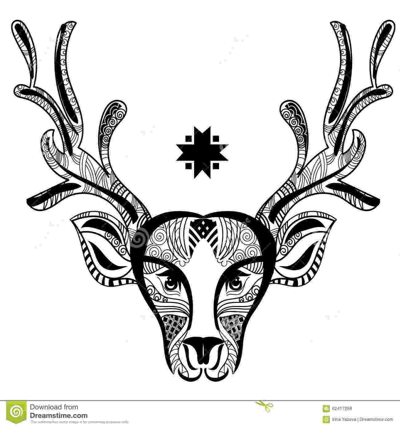 deer zentangle christmas deer head doodle zentangle stock vector deer zentangle