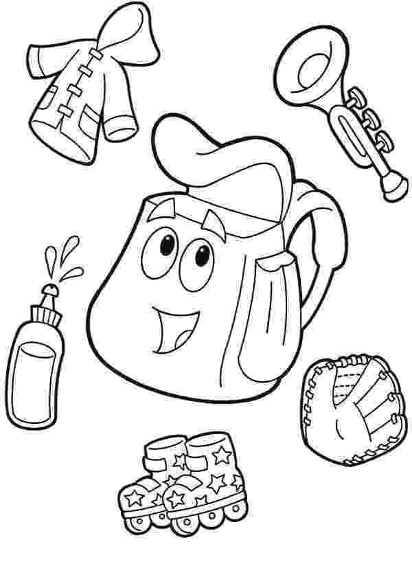 dora backpack coloring page dora the explorer printables coloring backpack dora page