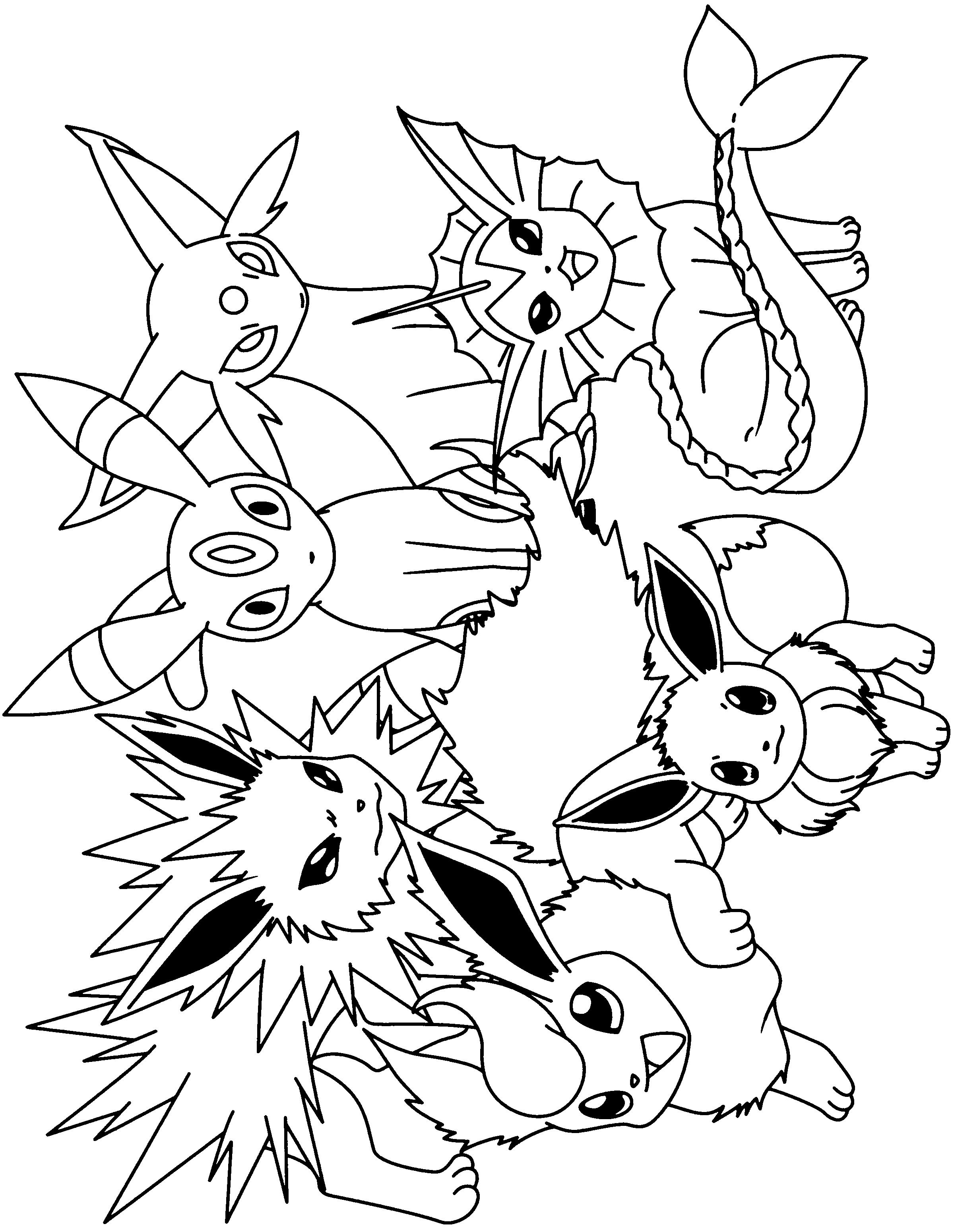 eevee coloring pages pokemon eevee evolutions black and white coloring page pages coloring eevee